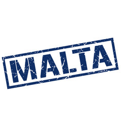 Malta blue square stamp vector