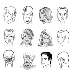 man hairstyle head set vector image