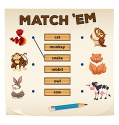 Matching game with animals vector image vector image