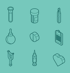 medical outline isometric set vector image vector image