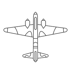 Military fighter aircraft icon outline style vector