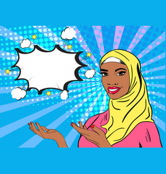 Pop art woman in hijab vector