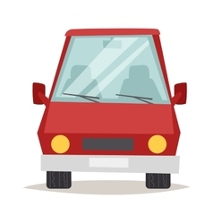 Red cartoon car front view design flat vector