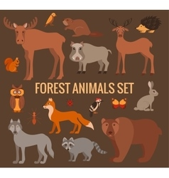 set of forest animals vector image vector image