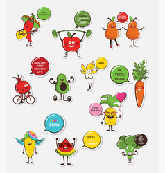 Set of funny fruit and vegetable icons cartoon vector