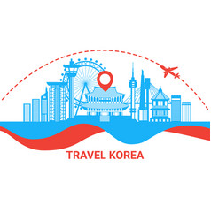 travel to south korea silhouette poster with vector image