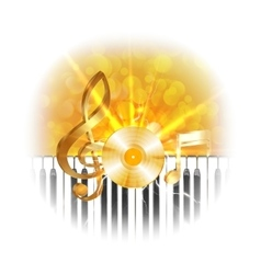 golden musical vinyl plate with treble clef and vector image