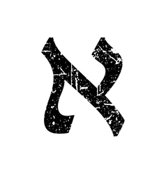 Hebrew letter aleph shabby black font the hebrew vector