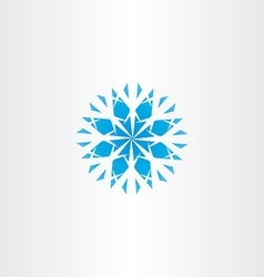 Abstract blue snowflake icon symbol element vector