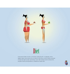 Polygonal of diet fat and slim girls vector