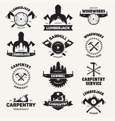 Collection of isolated vintage lumberjack labels vector