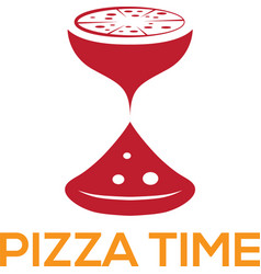 Pizza time design template with sandglass vector