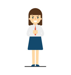 Angry young woman with folded hands gesture vector