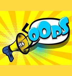 Comic book text advertising megaphone oops vector