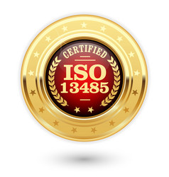 Iso 13485 certified medal - medical devices vector