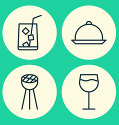 Restaurant icons set collection of wineglass vector