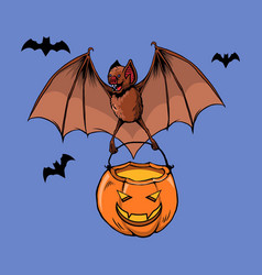Flying bat bring pumpkin lantern vector