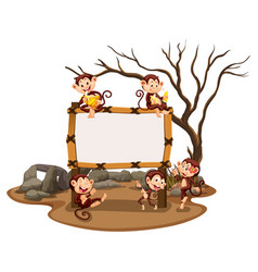 Frame template with monkeys in the field vector