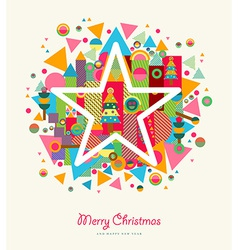 Merry christmas abstract colorful retro star vector