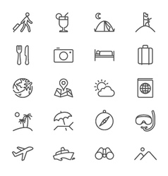 Traveling thin icons vector