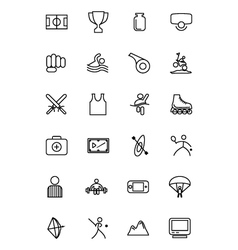 Sports line icons 3 vector