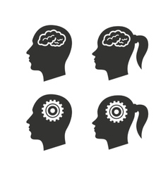 Head with brain icon male and female human vector