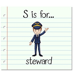 Flashcard letter s is for steward vector
