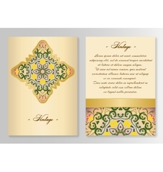 Vintage card template with floral ornaments vector