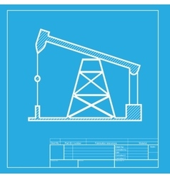 Oil drilling rig sign white section of icon on vector