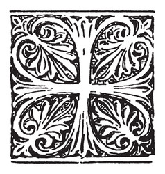 Anthemion is a byzantine cross vintage engraving vector