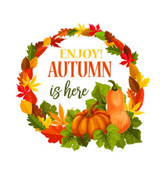Autumn pumpkin harvest leaf greeting poster vector