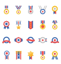 Badge awards color icons vector