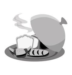 Bread in tray menu icon vector