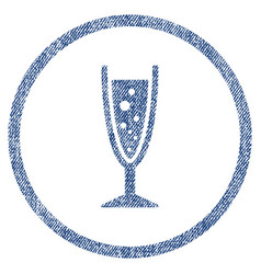 Champagne glass rounded fabric textured icon vector