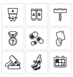 Doping test icons set vector