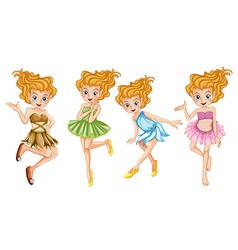 Four beautiful fairies smiling vector