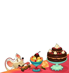 Funny mouse with cake for cards and graphics vector