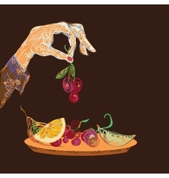 Hand With Fruits vector image vector image