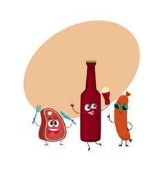 happy beer bottle meat steak frankfurter sausage vector image vector image