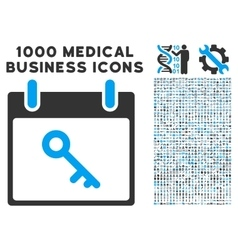 Key calendar day icon with 1000 medical business vector