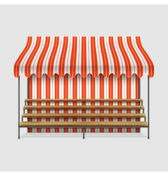 Market stall with wooden shelves vector