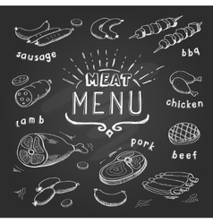 Meat menu on chalkboard Set of meat symbols beef vector image