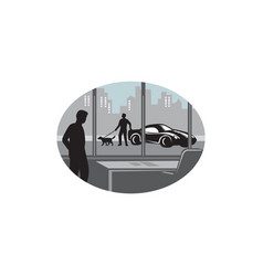 Office worker looking through window oval woodcut vector