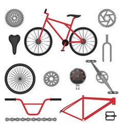 Parts of bmx bike off-road sport bicycle used for vector