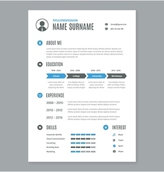 Resume cv a4 letter on white vector