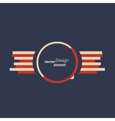 Round abstract badge with two wings Template for vector image