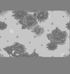 seamless floral pattern with gray flowers vector image vector image