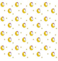 seamless pattern with cartoon sleeping moon in vector image vector image