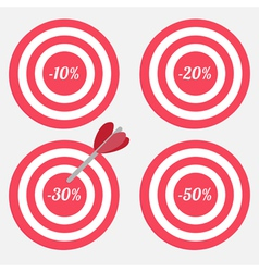 Set of targets with sale percent sign vector image vector image