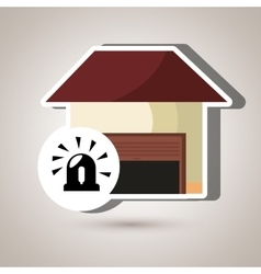 smart home with alarm isolated icon design vector image